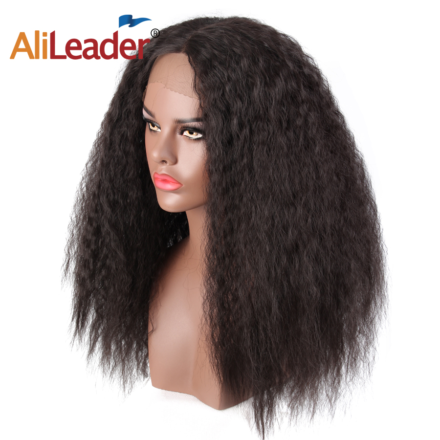 Alileader Natural Black Synthetic Kinky Straight Lace Frontal Wig for Women 24inch Heat Resistant Afro Puff Yaki Wigs For Sale