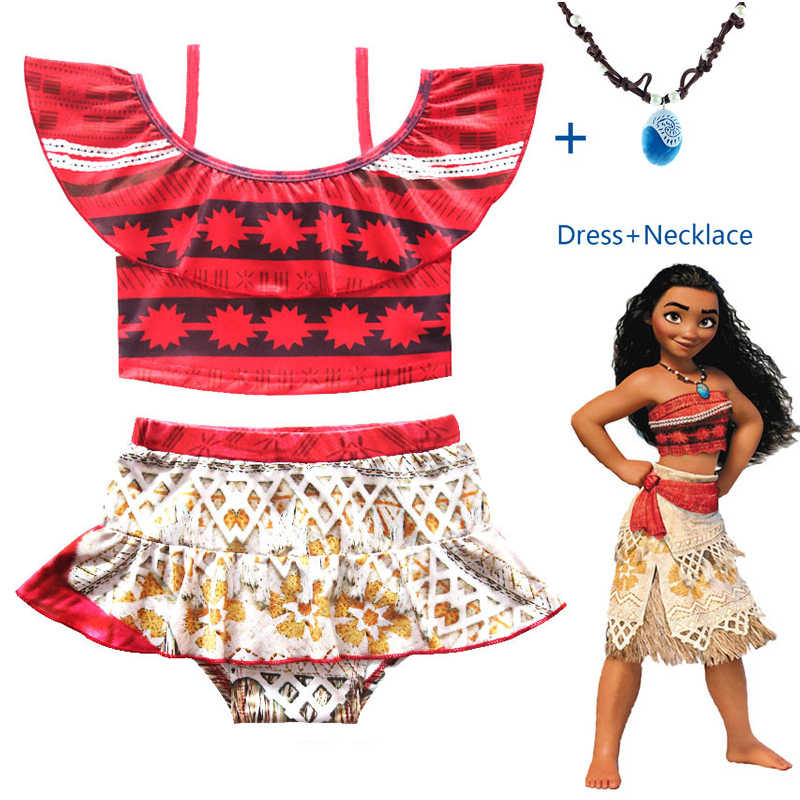 244811fa31 2018 New Summer Moana Cosplay swimming Kids girls princess dresses with  necklace vaiana children Swimsuit costume
