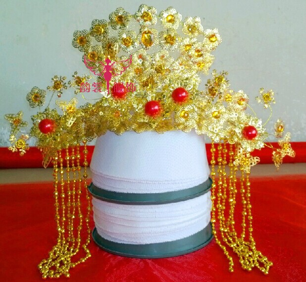 00004 Red Gold Bride Wedding Hair Tiaras Ancient Chinese Empress Hair Piece 00008 red gold bride wedding hair tiaras ancient chinese empress hair piece