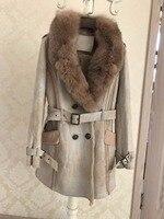 Роскошное женское высококлассное натуральное овечье кожаное пальто из шерсти и кашемира с подкладкой для леди с большим лисьим меховым вор