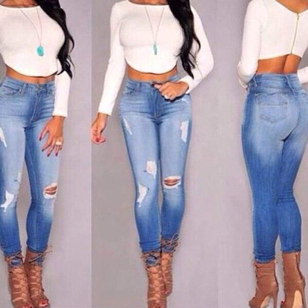 2015 High Waisted Distressed Jeggings Skinny Denim Stretch Jean Pants Women Fashion Boyfriend Jeans Jeans 3t Jeans Xxxxljeans Made For Black Women Aliexpress