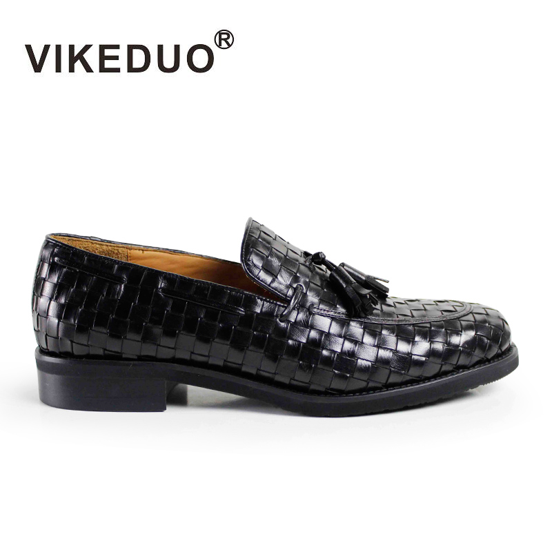 VIKEDUO Luxury Brand Fashion Knit Tassel Man's Shoes Black Comfortable Casual Summer Shoe Top Genuine Leather Male Footwear vikeduo brand 2017 fashion top real leather hollow breathable men shoes leisure casual lace shoes summer spring white footwear