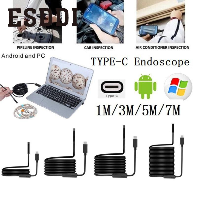 Esddi New 8mm 2MP 8LED 7M Android Phone USB Type C USB Endoscope Waterproof Video Camera Snake Inspection Tube Pipe Mini Cam