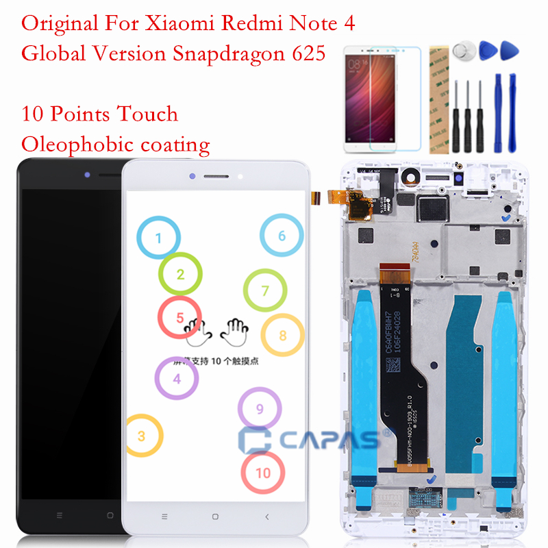 Original Screen For Xiaomi Redmi Note 4 LCD Display Frame Touch Panel Snapdragon 625 Note 4 Global 4GB 64GB LCD Digitizer Parts