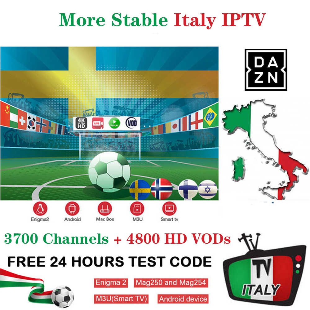 Italy IPTV M3u 3 month subscription DAZN Sport Cinema Live Xky sport  channels support IPTV Box Android APK Smart TV Enigma2 MAG