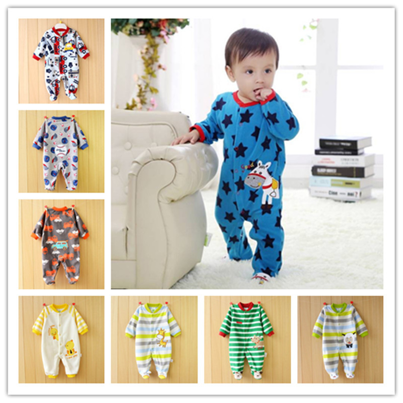 0-12M Baby Boy Rompers Baby Boy Clothes Giraffe Clothing Boy Overalls Long Sleeves Long Pants O-Neck Fleece Dog Bear Duck V20 baby rompers o neck 100