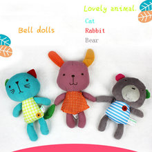 Retail 22cm Rabbit Bear Cat Baby Plush Hand Grasp Toys Infant Rattle Crib Bed Hanging Animal Toy Multifunction Dolls(China)