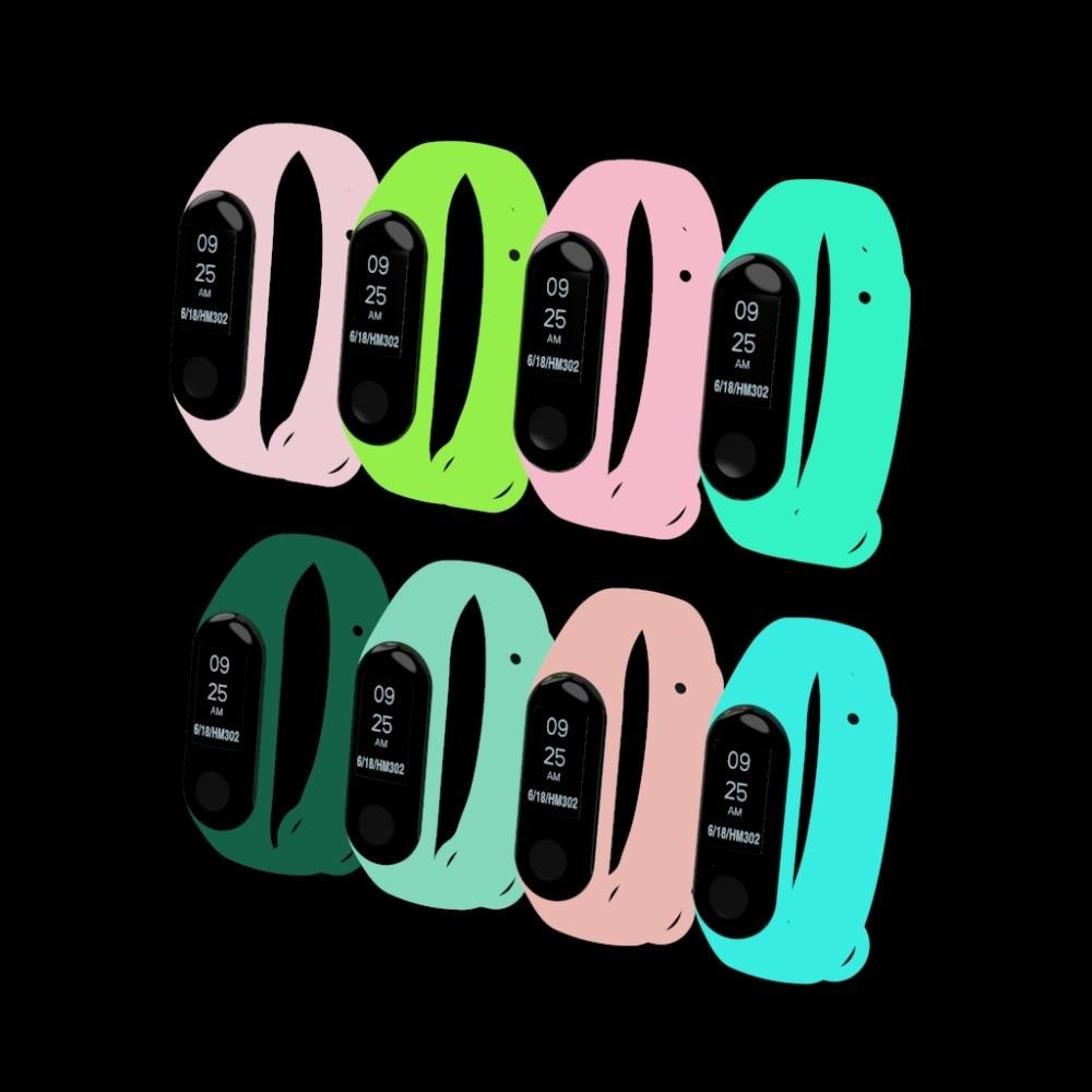 Night Light Luminous Silicone Wrist Strap For Xiaomi Mi Band 4/3 Bracelet Strap Miband 3 Colorful Strap Smart Band Mi Band3 Belt