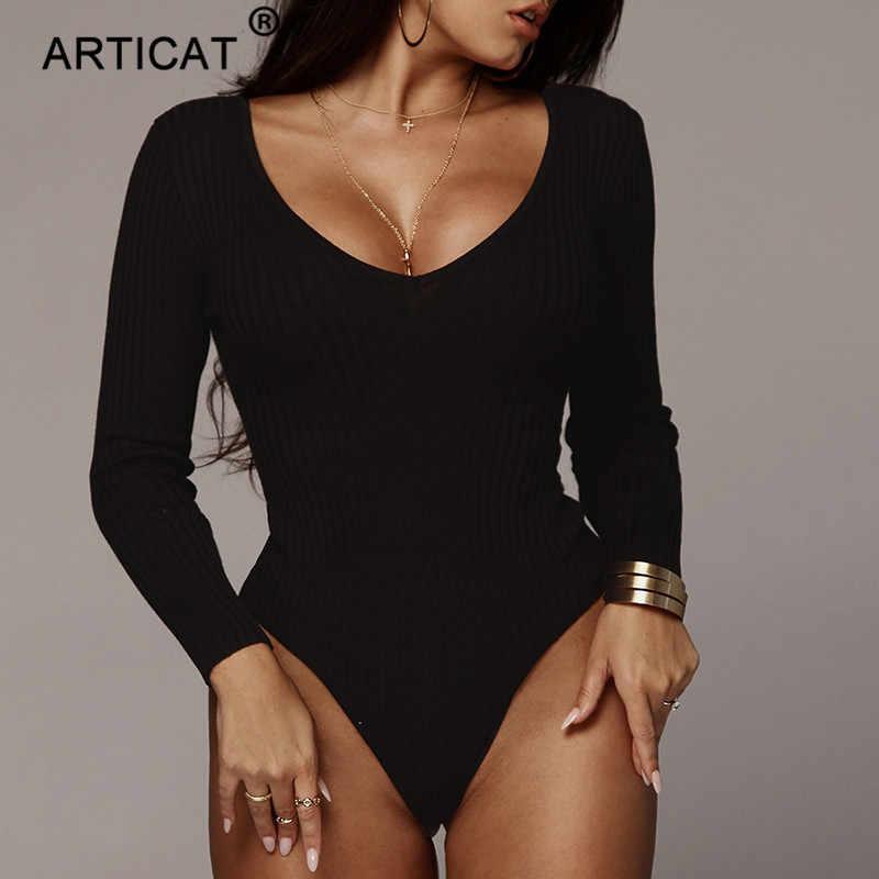 Articat с открытыми плечами ребристый трикотажный сексуальное боди женский, черный с v-образным вырезом осенние облегающи