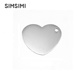 Stainless Steel Heart Charm Pendants For Jewelry Making Steel/Gold Blank Metal Tag Personalised Mirror Polished Wholesale 50pcs
