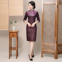 Asian Female Fashion Print Floral Dress Chinese Classic Handmade Button Qipao Spring Slim Cheongsam Velvet Vestidos Size M 3XL