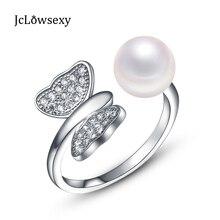 09b1df1689fd Auténtico anillo de Plata de Ley 925 mariposa y Perla cristal CZ  redimensionable Anillos para mujeres regalo Joyería fina fabric.