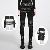 Hot Selling SteamPunk Heavy Metal Rock Leather Belt Bags Gothic Black Fashion Causal Waistband With Two Bags