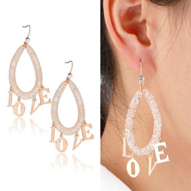 Gold Color Letter Word Love Charm Chandelier Full Crystal Mesh Large Teardrop Drop Earrings For Women