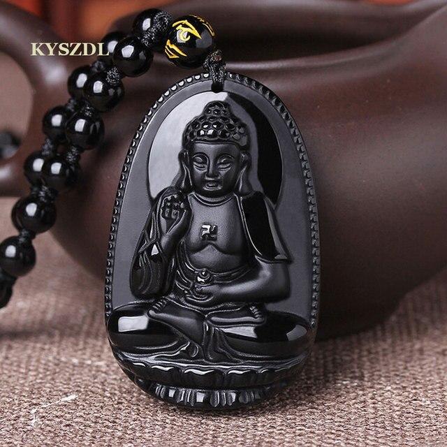 KYSZDL טבעי obsidian בודהה תליון זכר נשים שרשרת בודהה חרוז וילון transhipped בודהה ראש תליון e mi טואו עבור