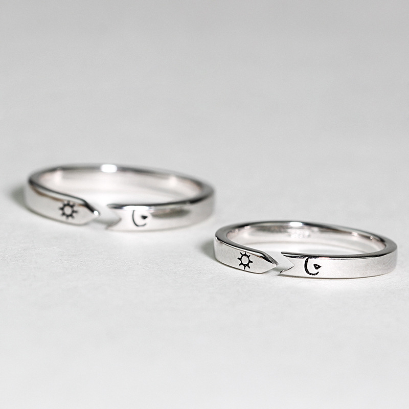 Original Courage 925 Sterling Silver Rings For Men Women Personalized Opening Creative Sun And Moon Couple Rings Gift Lettering