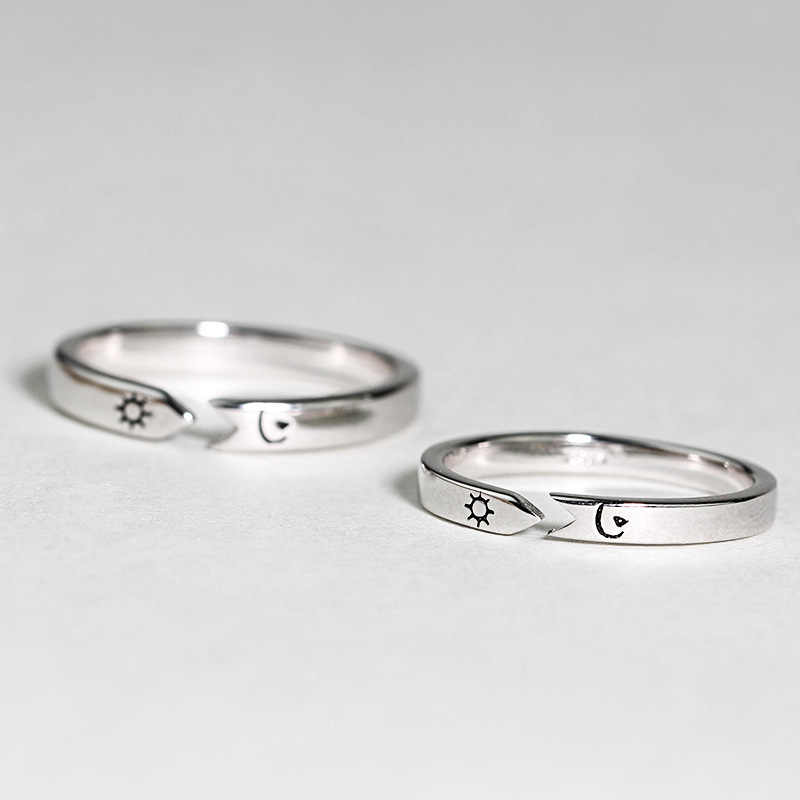 ab82730a27 Original Courage 925 Sterling Silver Rings For Men Women Personalized  Opening Creative Sun And Moon Couple