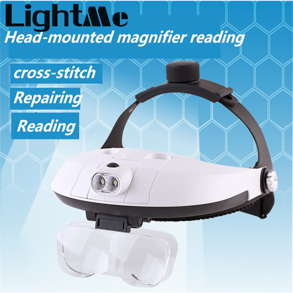 Hight Quality 2 Detachable 81001 - G LED Headband Illuminated Magnifier with 5 Replaceable lens Head Mounted LED Zoom Lens Lamp