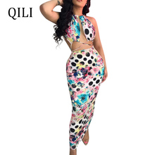QILI Summer Sleeveless Bandage Dress Colorful Print Hollow Out Pencil Dresses New Women Vacation Beach Party Club Wear