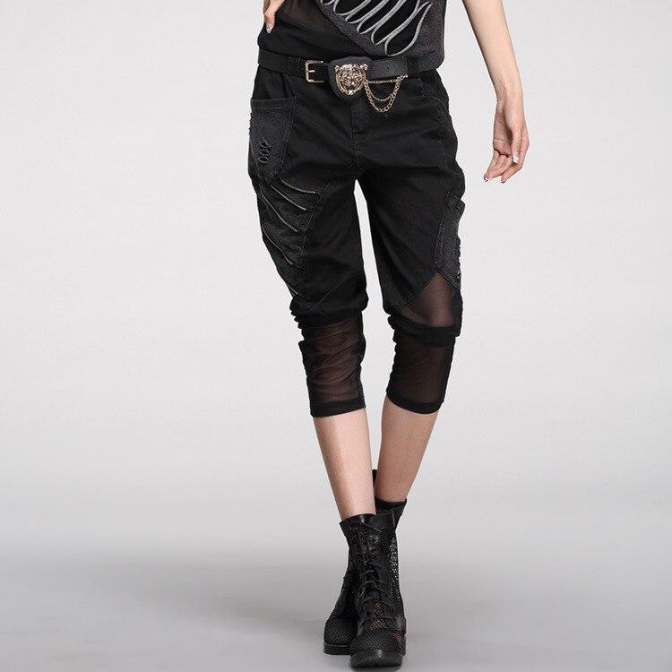 Hip Hop Short Jeans 2018 New Spring Summer Fashion Casual Punk Style Patch Mesh Patchwork Harem   Pants   Calf-length   Pants     Capris