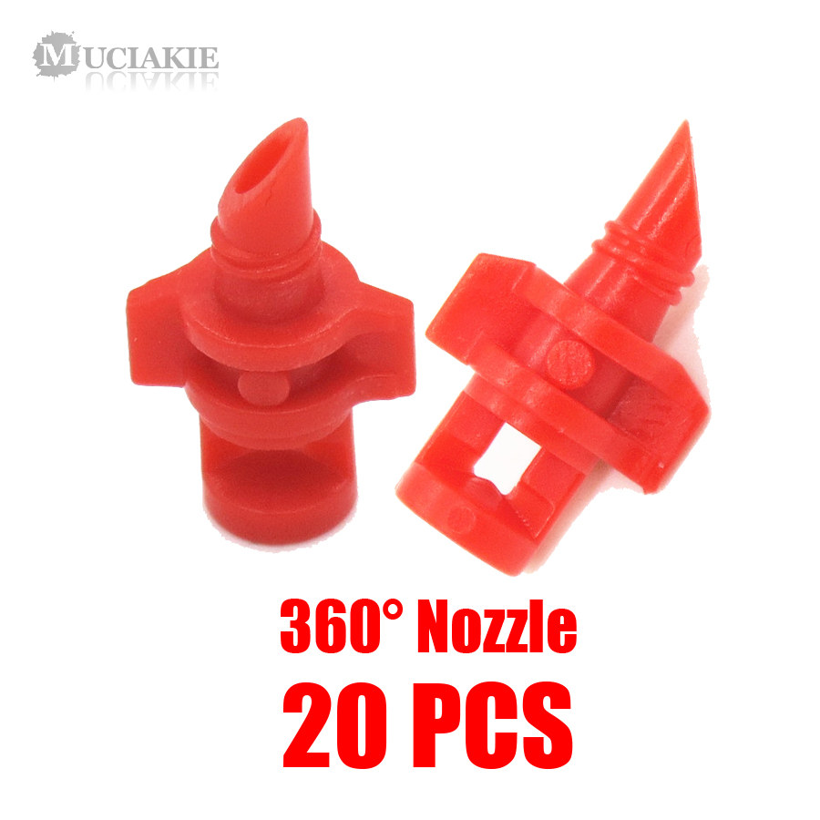 MUCIAKIE 20PCS/pack 90 180 360 Degree Refraction Nozzle Garden Irrigation for Plant Spray Nozzle Mist Sprayer Irrigation Fitting