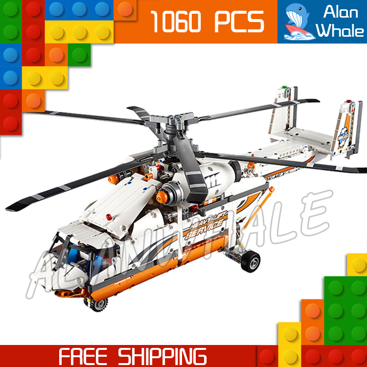 1060pcs Techinic Remote Controlled Heavy Lift Helicopter 20002 DIY Model Building Kit Blocks Gifts Toys Compatible With lego 1060pcs 2in1 techinic motorized heavy