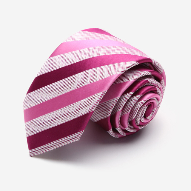 High Quality 2016 Nano Microfiber 7CM Pink Ties for Men Wedding Groom Groomsmen Necktie Waterproof Gradient Stripes Tie Gift Box