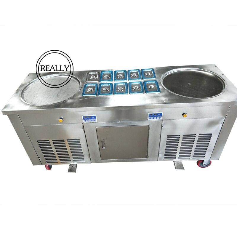 L'acier inoxydable R410 réfrigérant Commercial 2 casseroles avec 10 réservoirs de nourriture de refroidissement machine à crème glacée à vendre