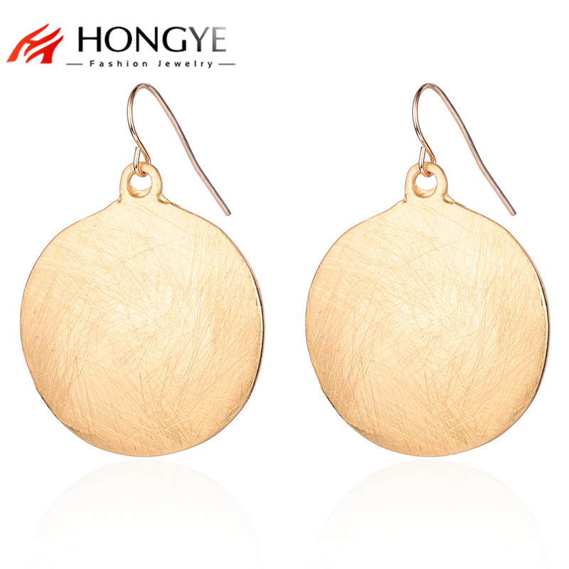 HONGYE 2017 New Design Antique Drawing Earring Jewelry Round Shaped Rose Gold 3Color Pendant Statement Dangle Earrings For Women