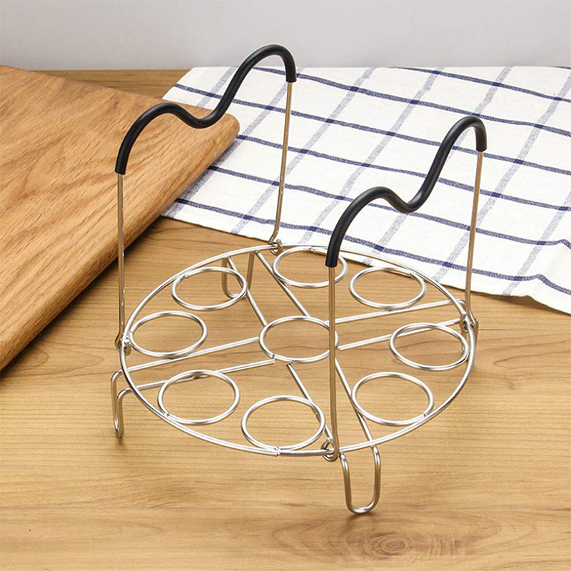 304 Stainless Steel Foldable Steamer Rack Trivet With Heat Resistant Long Handles For Instant Pot And Electric Pressure Cookers