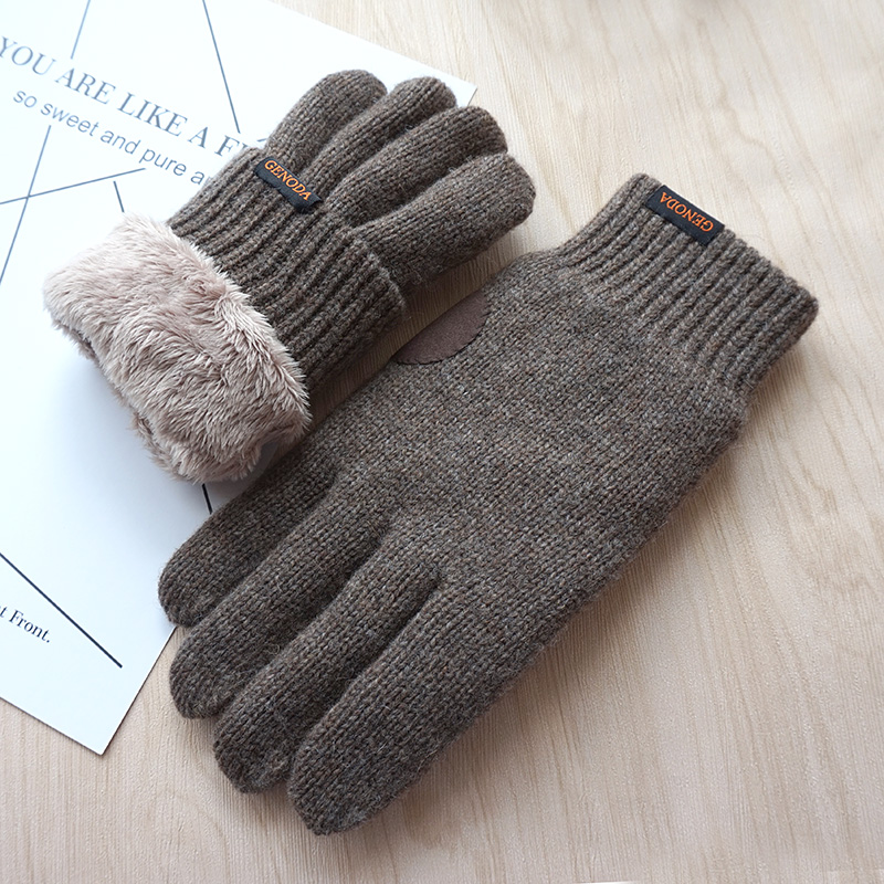 New Arrivial Men Gloves Touch Screen Warm Gloves Fashion Male Winter Velvet Thick Wool Gloves Kniting Gloves Free shipping