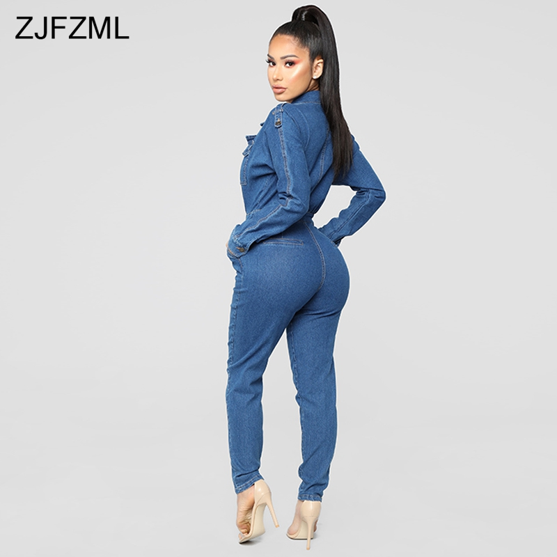 815a9e279d9d6 Long Sleeve Casual Rompers Womens Jumpsuit 2019 Turn Down Collar Full Length  Overall Streetwear Ladies One Piece Denim Bodysuit-in Jumpsuits from  Women's ...