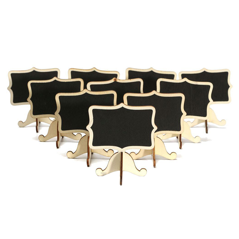 HOT-10 Pcs Mini Wooden Small Wedding Blackboard Message Table Number Chalkboard