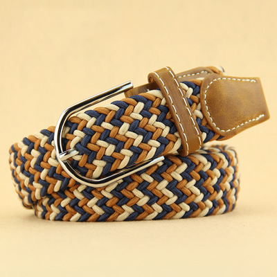 Belts For Men Wave Pattern Womens Casual Knitted Belt Woven Canvas