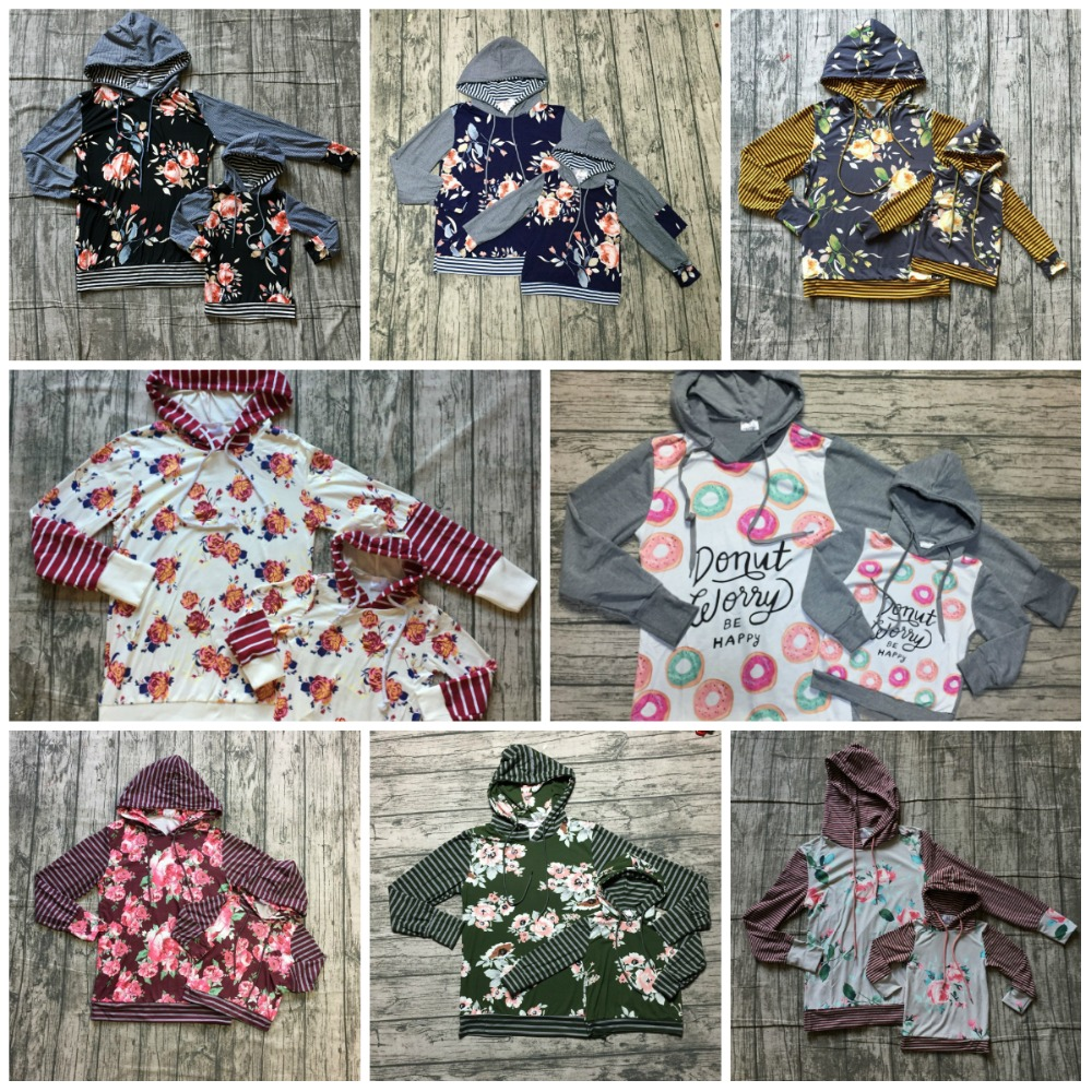 Otoño/Invierno niños trajes bebé niñas Sudadera con capucha de los niños de la ropa de seda de leche de algodón con cordón floral boutique de vino gris flor