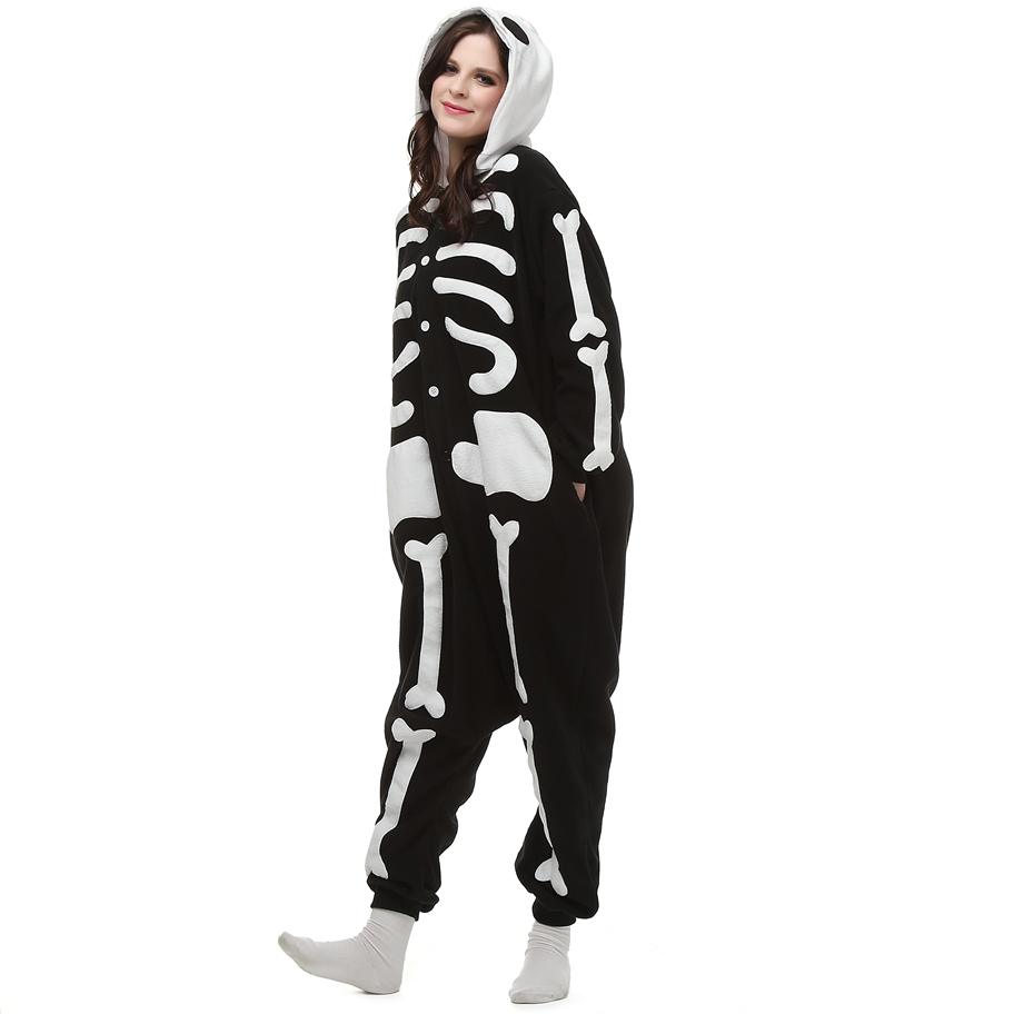 Polar Fleece Kigurumi Skeleton Skull Cosplay Costume Cartoon Onesie Pajama Halloween Carnival Masquerade Party Jumpsuit Clothing