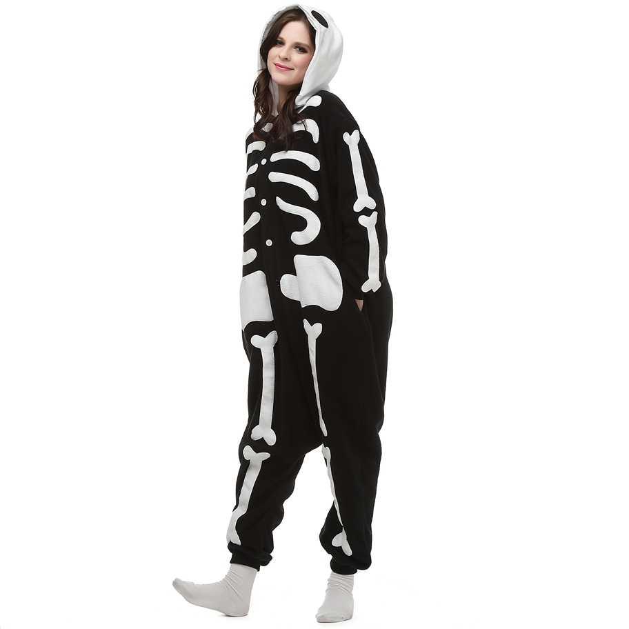Флис kigurumi Скелет Череп Косплэй костюм мультфильм Onesie пижамы Хэллоуин  карнавал-маскарад партии комбинезон Костюмы bf3d83c1bd7a8