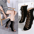 Fashion Quality Women Gladiator High Heels Genova Stiletto Sandal Booties Open Toe Lace Up Pumps Shoes Woman Boots