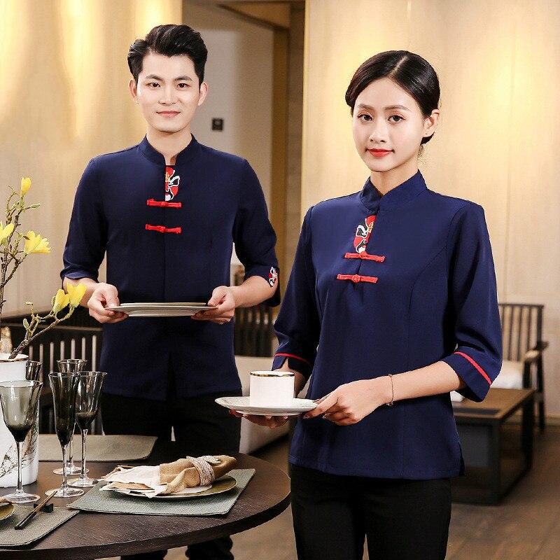 Waiter Short-sleeved Workwear Uniform Food Service Overalls Restaurant Hotel Hot Pot Shop Coffee Vintage Waiterss Uniforms