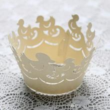 120pcs/lot Laser Cut Duck Design Paper Cake Wrapper Banquet Party Cupcake Pancake Surrounding Edge Packing wc566