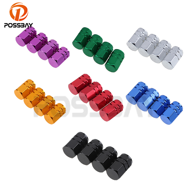 POSSBAY Car Wheel Tire Valve Bike Tyre Valve Stem Air Valve Caps Universal for Car Motorcycle Wheel Tyre Valve Caps Dust Cover ryanstar racing car universal 16 5mm aluminum alloy tire tyre valve caps