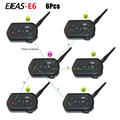 6PCS Newest Ejeas E6 1300M Motorcycle Bluetooth Helmet Intercom for 6 Riders Wireless Intercomunicador BT Interphone Headsets