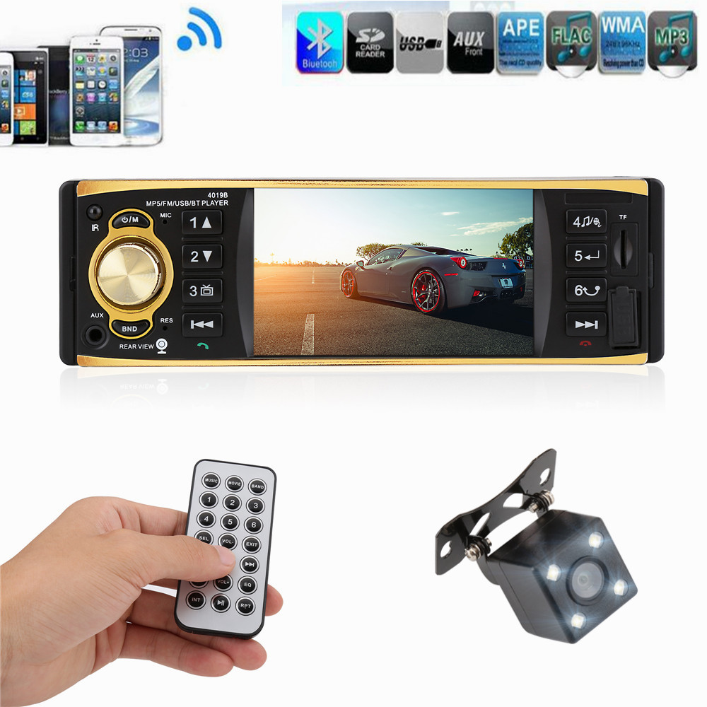 4.1 inch 1 Din Car Radio Audio Stereo 1Din 12V USB AUX FM Radio Station Bluetooth with Rearview Camera Remote Control Car Audio
