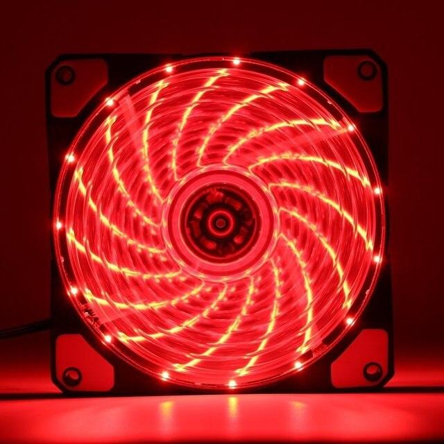120mm PC Computer 16dB Ultra Silent 15 LEDs Case Fan Heatsink Cooler Cooling w/ Anti-Vibration Rubber,12CM Fan,12VDC 3P IDE 4pin 4