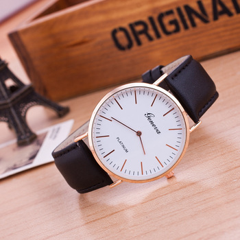 Simple Design Unisex Wrist Watches Geneva Business Men Watch Casual Women Quartz-Watch Round Dial Clock Leather Watch Relojes casual watch geneva unisex quartz watch men women wristwatches fashion sports watches rose gold silicone watches dropship