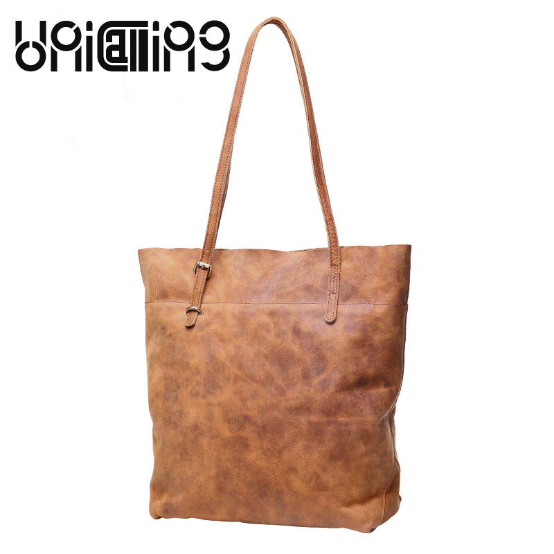New style Genuine Leather women bag Fashion bags handbags women famous brands Cow Leather shoulder bags Retro Bucket Bag fashion leather handbags luxury head layer cowhide leather handbags women shoulder messenger bags bucket bag lady new style