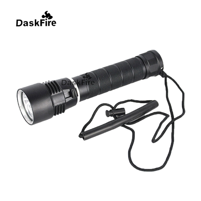 DaskFire Diving Flashlight 6000lm XM-L 3x Cree XM-L L2 LED Diving Torch 26650 Diving Flashlight Torch Underwater 100M 2 in 1 car blind spot mirror wide angle mirror 360 rotation adjustable convex rear view mirror view front wheel car mirror