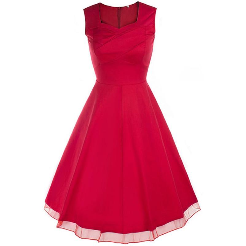 2017 Women Dress Audrey Hepburn Vestidos Sleeveless Simple Vintage V-Neck Party Dresses Clothing Christmas Party Dress