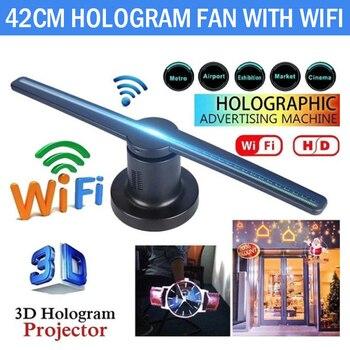 Wifi con 16G TF 3D holograma proyector ventilador pantalla holográfica publicidad reproductor tienda signos fiesta decoraciones divertido 42cm kit de