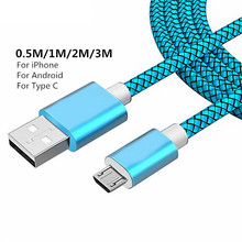 0.5M/1M/2M/3M Durable Braided Woven Type-C USB-C Charger Data Sync Cable Charging For iPhone 8Pin Android Samsung S8 S9 Note 8 стоимость
